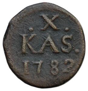 DANISH INDIA (Tranquebar) X Cash 1782 Copper VF Christian VII
