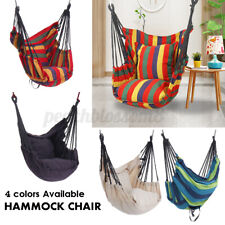Color stripes Cotton Hammock Chair Hanging Rope Swing Seat Porch Yard Patio Us