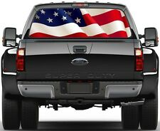 USA American Waving Flag Rear Window Graphic Decal for Truck SUV Vans Ver-B