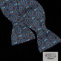 Vintage TURNBULL & ASSER Bow Tie Orange Cobalt Paisley on Navy Blue Silk ENGLAND