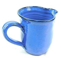 """Rustic Blue Hand Thrown Glazed Art Pottery Small Pitcher Creamer Signed """"Fred"""""""