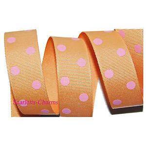 "Offray Orange Cream & Pink Polka Dot Grosgrain Ribbon 1.5"" or 7/8"" 5 Yards Bows"