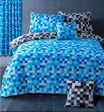 Pixel Check Blue Grey Duvet Quilt Cover Bedding Set Single Double King Curtains