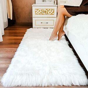 Premium Faux Sheepskin Fur Rug White - Large White Shag Rug - Best Extra Long...