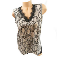 Nine West Top Snake Print V-Neck Sz SMALL S Lace Trim Black Multicolored Blouse