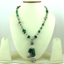 NATURAL REAL GREEN AVENTURINE GEMSTONE BEADED BEAUTIFUL NECKLACE 55 GRAMS