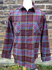 Hombres grandes lana Overshirt de Superdry, cuadros azules multicolores, existencias Vintage Sin Uso