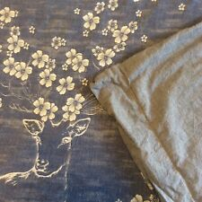 Oreise Full/Queen Duvet Cover Blue Jacquard Deer Floral Chambray Washed Cotton