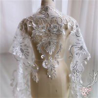 Wedding Gown Lace Edging Beaded Bridal Dress Trim Embroidered Tulle Ribbon 1 Y