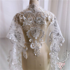 Wedding Costume Lace Edging Sequin Evening Dress Trim Embroidery Tulle Ribbon 1Y