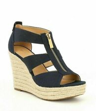 Michael Kors Damita Wedge Canvas Espradrille Sandals Platform Heels NAVY 9.5 NIB