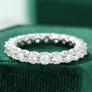 3.0 mm Round Moissanite Eternity Engagement Wedding Band 14K White Gold Over
