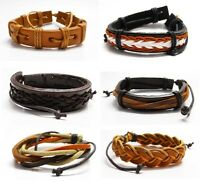 Braided Brown and Tan Leather and Waxed Cord Surfer Bracelet Wristband