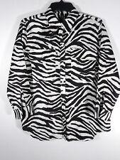 Ralph Lauren LRL Zebra Print 3/4 Sleeve Button Front Shirt Blouse Size L  P98