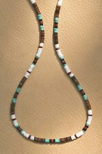 TURQUOISE BEADED HEISHE NECKLACE 4mm. GEMSTONE BLACK ONYX RED JASPER SILVER PL