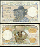 FRENCH WEST AFRICA 100 FRANCS 1936 P 23 CIRCULATED