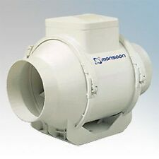 """MONSOON UMD100T Mixed  Flow IN LINE POWERFUL timer EXTRACTOR FAN 4"""" 100mm"""