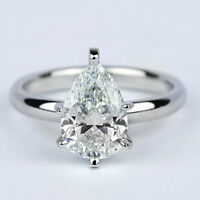 Solitaire 1.25 Carat Pear Cut Diamond Engagement Ring 14k White Gold VVS2 H