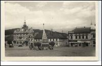 Wotitz Votice Tschechien Postkarte ~1950/60 Marktplatz alte Autos alte Gebäude