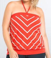 Torrid Tube Top 0X 4X 5X Off Shoulder Red White Striped Shirt Halter Plus NEW
