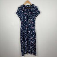 Serra Womens Dress 8 Blue Floral Short Sleeve V-Neck Zip Closure Belt