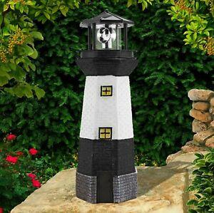Traditional Solar Powered Light House Garden Lighthouse Ornament W/ Rotating LED