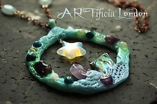 HANDMADE Mermaid Scene Necklace | Opalite Abalone & Amethyst Crystal Jewellery