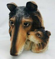 "Vintage Rare Napco Collie Mother & Pup Head Vase Figure Planter Dog 8.5"" #9796"