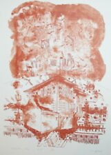 1982 Abstract cityscape art print signed