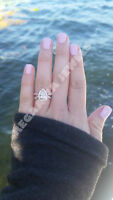14k rose gold over pear shape signity diamond engagement women ring all size
