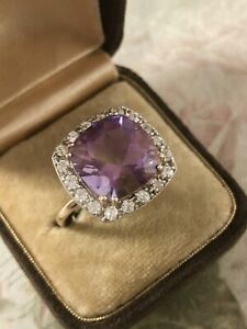 9ct Yellow Gold Large Cushion Cut Amethyst & CZ Halo Ring Size S