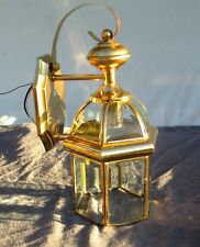 Vintage Outdoor Brass Lantern Porch Wall Light Vaxcel 1999 Beveled Glass 14.5""
