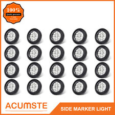 """20PC 2"""" Round Led Marker Lights 9LED Reflector Clear/Amber Kits Grommet/Pigtail"""