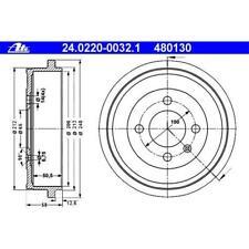 ATE 24.0220-0032.1 Bremstrommeln 2 Stück für SEAT