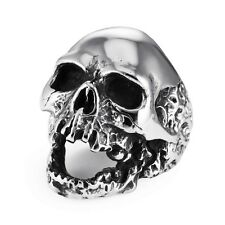 Men's Gothic Rocker Biker Vintage Stainless Steel Demon Skull Ring Silver/Black