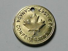 Canada Confederation 1867-1967 Holed Medal/Coin - Keychain Fob - Same Both Sides