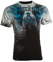 ARCHAIC by AFFLICTION Mens T-Shirt NIGHTWATCHER Skulls BLACK BLUE Biker $40 NWT