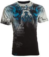 Archaic Affliction Men S/S T-Shirt NIGHTWATCHER Skull BLACK BLUE Biker S-3XL $40