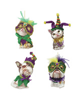 Mardi Gras Dog and Cat Glass Ornaments Set of 4 with Masks Beads Feathers cute