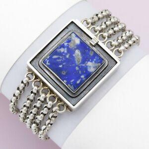Vintage Modernist Studio Artisan Sterling Silver Sodalite Chain Bracelet