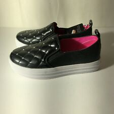 Skechers Girl's DOUBLE UP-SHINY SHOEVET Casual Slip On Shoes Black US 12 Youth