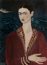 Frida Kahlo Self portrait wearing a velvet dres Giclee Canvas Print Paintings Po
