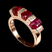 Oval Red Ruby 7x5mm White Cz 14K Rose Gold Plate 925 Sterling Silver Ring