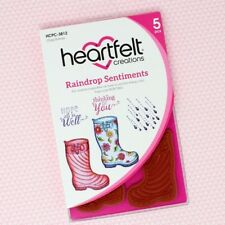 Heartfelt Creations Cling Rubber Stamp Set ~ Raindrop Sentiments, HCPC3812 ~ NIP