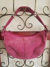 COACH AUTHENTIC WOMENS SMALL PINK SUEDE HOBO SHOULDER HANDBAG PURSE #G05S-9658