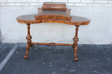 Gorgeous Antique English Burl Walnut Ladies desk Writing Table Leather Flip Top