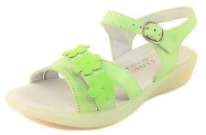 DE OSU - Girls Soft Lime Green Leather Flower Sandals - European 25 US Size 8