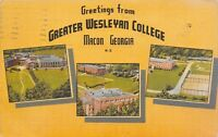 Macon Georgia~Greater Wesleyan College Campus~Panoramas~3 Pics~1946 Linen PC