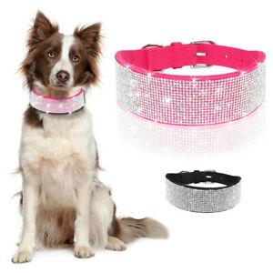 Velvet Bling Rhinestone Dog Collar Girl Dog Necklace for Medium Large Breeds US
