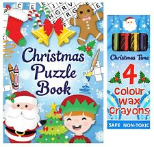 Christmas Puzzle Book + 4 Assorted Colour Wax Crayons Stocking Fillers Colouring